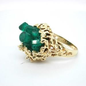 14K Yellow Gold Cluster Cocktail Diamond Emerald